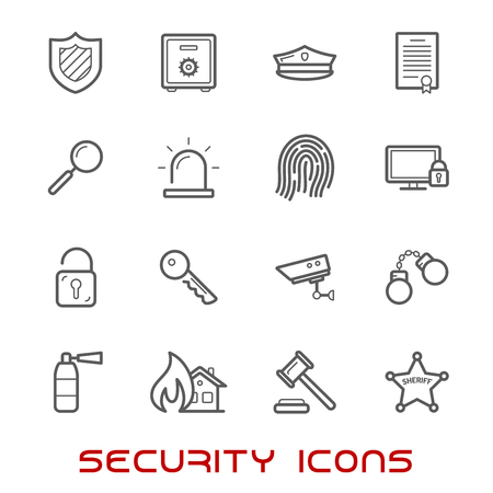 Veiligheid en bescherming van de dunne lijn stijliconen met web security schild, hangslot, sleutel, kluis, hamer, videobewaking, brandbeveiliging, patent, handboeien, vingerafdruk, brandblusser en sheriff ster Vector Illustratie