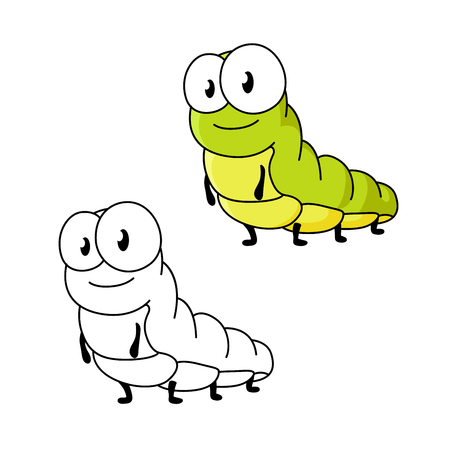 cartoon bug: Little cartoon green butterfly caterpillar insect with cute face and goggly eyes. For childish book or nature concept design