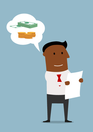 business contract: Dreamy smiling cartoon businessman studying the contract and thinking about money. Business and finance planning concept usage Illustration