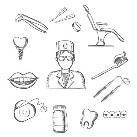 toothy smile: Dentistry sketch icons with dentist in glasses, dental equipment and hygiene icons with toothy smile, chair, tooth implant, floss, brace, pills, toothbrush and toothpaste. Sketch style