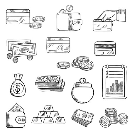 finance report: Finance, business and money flat icons of dollar bills and golden coins, stack of gold bars, wallet, money bag, bank credit cards and financial report Illustration