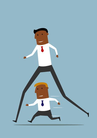 superiority: Cheerful cartoon long african american businessman has advantage over his rival and easily winning the competition.
