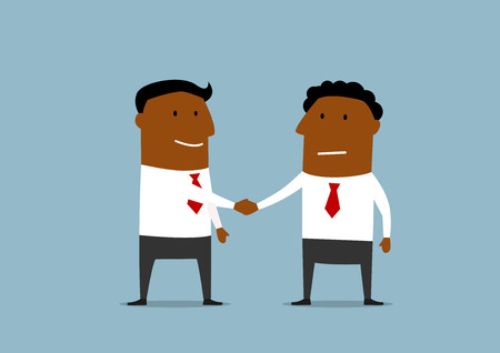 teamwork cartoon: Business partnership handshake concept with two happy businessmen which shaking hands to confirm deal or contract signing Illustration