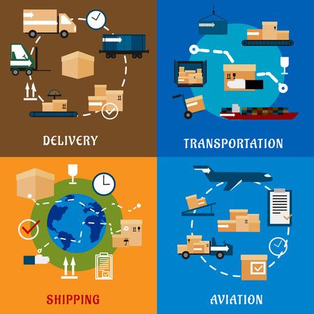 treno espresso: di consegna e di servizi logistici icone piane internazionali con cargo aereo, ferroviario, trasporto nave merci, icone di spedizione in tutto il mondo