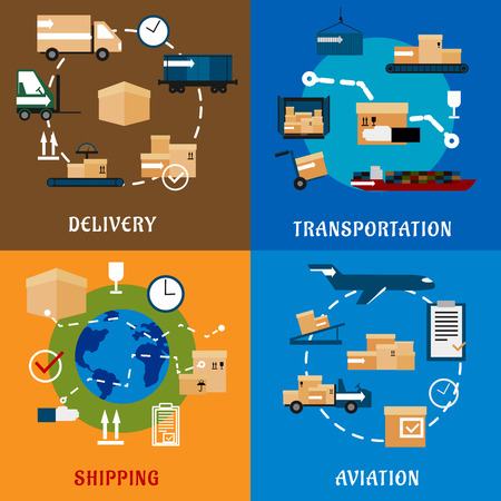 delivery service: International delivery and logistics service flat icons with air cargo, rail, ship freight transportation, worldwide shipping icons