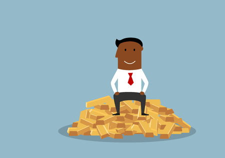Cartoon wealthy and happy african american businessman with complacent smile sitting on shining gold bars.