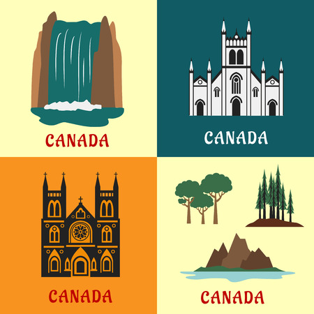waterfall in forest: Architecture and nature landmarks of Canada with flat icons of scenic waterfall, evergreen forest, mountain and valley, gothic temple and church
