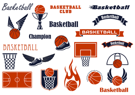 stars and symbols: Basketball sport game and competition symbols for sport emblems or badges design with balls and shoes, wings, flames and stars, baskets, backboards, courts and ribbon banners