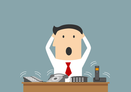 Cartoon businessman clutching a head in panic on workplace. Stock Illustratie