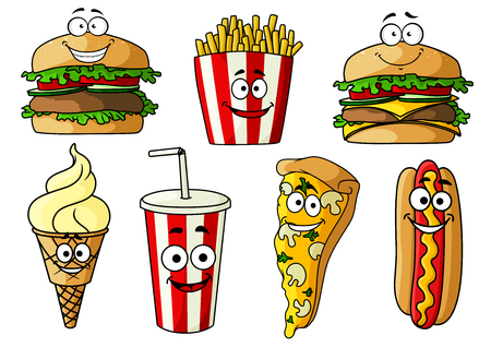 Joyful cartoon fast food hamburger, cheeseburger, pizza, hot dog with mustard , ice cream cone, french fries and soda drink in takeaway striped paper cup. Stock Illustratie