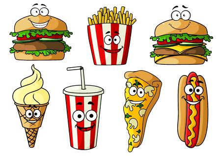 fastfood: phim hoạt hình vui vẻ ăn nhanh hamburger, phô mai, pizza, hot dog với mù tạt, hình nón kem, khoai tây chiên và uống soda trong cốc giấy takeaway sọc.