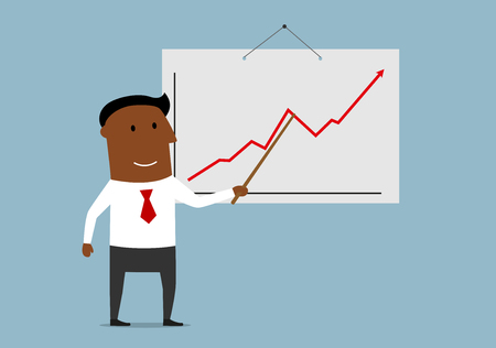 show business: Successful dark skinned businessman doing presentation and pointing important section of the growing sales chart.