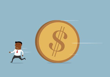 pursue: Scared businessman running away from huge golden dollar coin Illustration