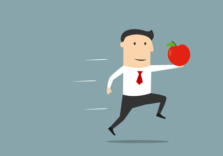 great idea: Cartoon executive businessman running with red apple as a symbol of new idea