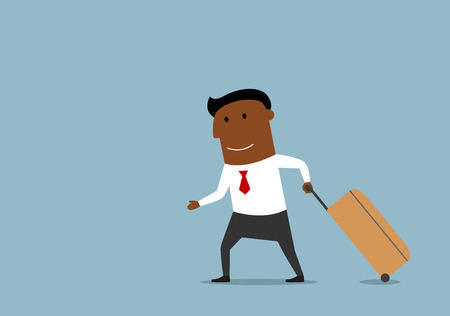 cartoon man: Cartoon african american businessman pulling luggage, going on voyage or traveling