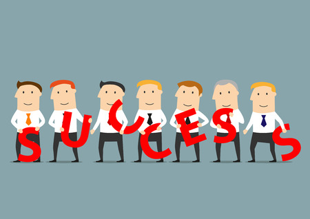 business team: Prosperous business team of smiling businessmen holding red letters in hands and composing the word Success. Illustration