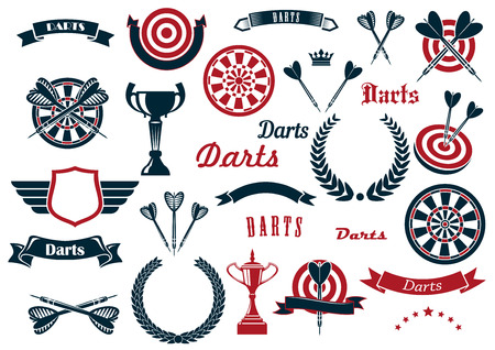 dart on target: Darts sport game design elements and items with dartboard, arrow, trophy cup, heraldic laurel wreath, winged shield and ribbon banners, stars, crowns.