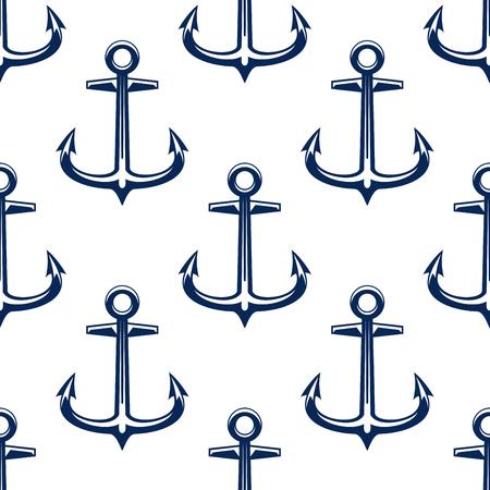 fluke: Vintage marine seamless pattern with blue nautical anchors on white background. Illustration