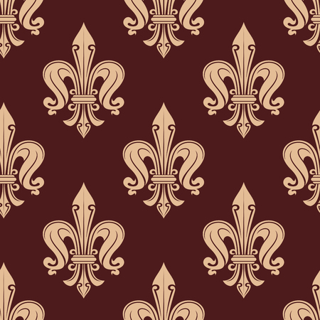 maroon background: Elegant seamless royal fleur-de-lis pattern with beige floral motif over brown or maroon background.