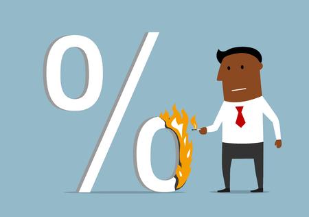 mortgage: Confident serious cartoon dark skinned businessman burning a high percent sign. Illustration