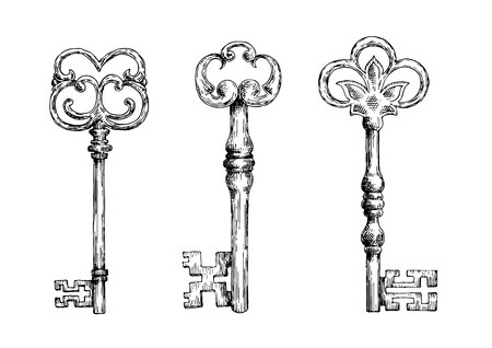 antique keyhole: Isolated medieval forged keys with bows, decorated by victorian lily elements and ornate by flourishes.