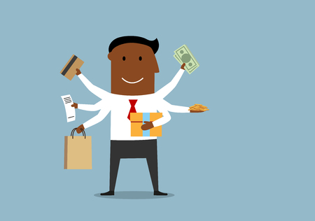 bank bill: Cartoon manager with many hands holding shopping bag, gift box, bank credit card, dollar bills, coins and cash register receipt