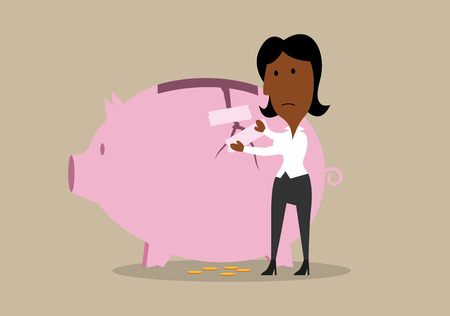 financial emergency: Cartoon businesswoman recovering cracked piggy bank from aftermath of financial crisis or emergency expenses.