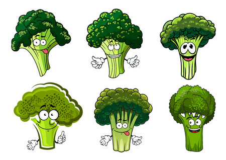 Organic farm cartoon broccoli vegetables with green stalks and lush heads.