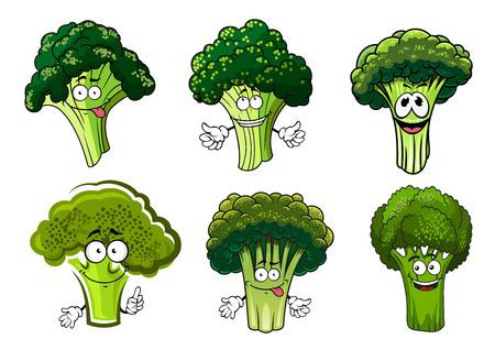 stalks: Organic farm cartoon broccoli vegetables with green stalks and lush heads.