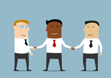 multi ethnic: Successful black businessman shaking hands with his multi ethnic business partners.