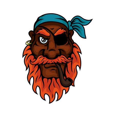 red eye: Red bearded old pirate with eye patch, blue bandana and gold earring smoking a pipe. Illustration