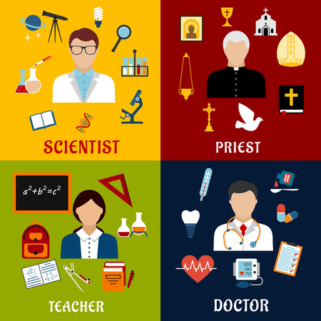 women and men: Scientist, teacher, doctor and priest professions flat icons with men and woman, science laboratory and medical equipment, school supplies, education and religious symbols