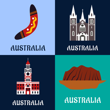 history architecture: Australian nature and architecture landmarks, culture, history and religion symbols.