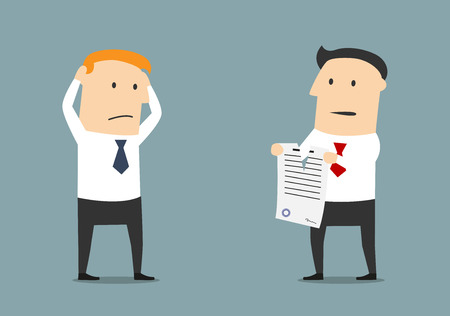 contrato de trabajo: hombre de negocios furioso historieta rompiendo un contrato en frente de gerente sin habla. Vectores