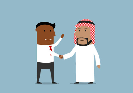 Successful smiling african american businessman is shaking hands with his arab business partner Vectores
