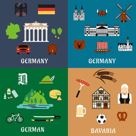 food industry: Germany travel and culture flat icons with national architecture  and landmarks, food and drinks, nature and industry, flag and map, culture and history elements