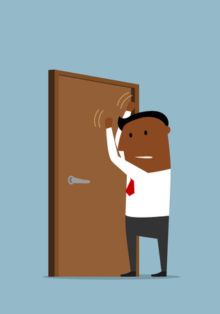 Despaired african american businessman knocking at the closed door with clenched fists.