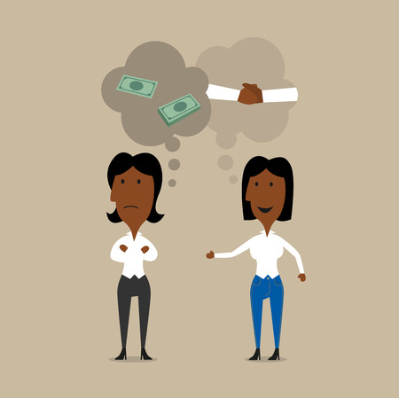 Cartoon businesswomen planning partnership or cooperation. One of them thinking about successful teamwork and other one is only about money. Illustration