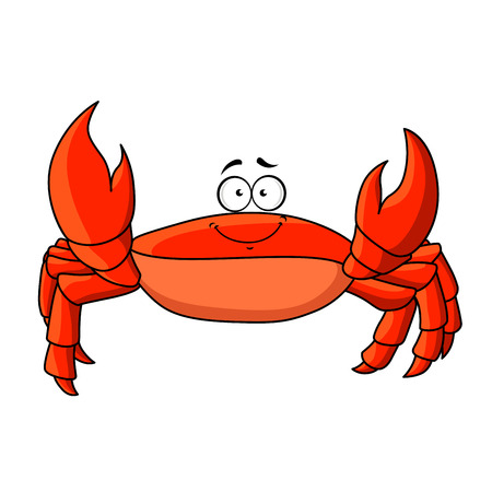 a leg: Cheerful smiling cartoon red crab with upward claws.