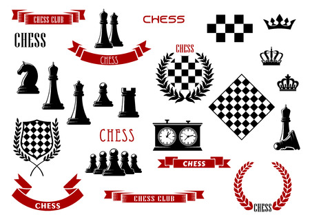Chess game items, icons and heraldic elements for sporting emblems design with chessboard, queen, king, rook, knight and pawn pieces, clock, checkered shield, laurel wreaths, crowns and ribbon banners