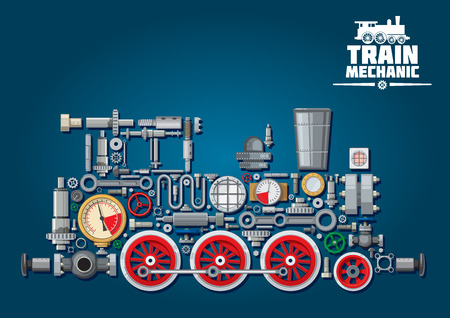 Steam locomotive train made up of mechanical parts as steam engine, power transmission system, gearbox, cogwheels, colorful pressure gauges, valves, running gears with red wheels, cylinders, pipe, headlights.