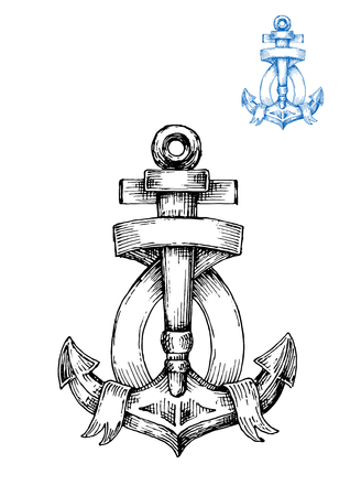 flukes: Decorative retro anchor sketch with ribbon banner, arranged around central shank and flukes.