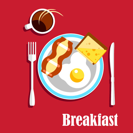 toasted: Traditional english breakfast menu with cup of hot coffee, fried egg with crispy slice of bacon and sandwich with toasted bread and cheese, served on a plate with fork and knife. Illustration