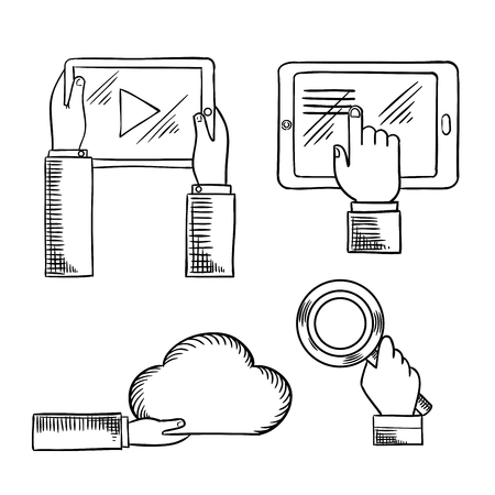 computers network: Internet communication technologies concept design for cloud computing, social media network and search service with sketch icons of hands with tablet computers, cloud and magnifying glass