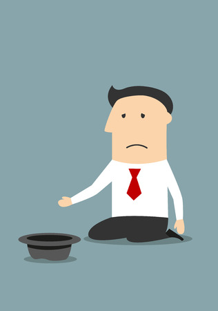 begging: Depressed bankrupt businessman begging for money, job or help. Illustration
