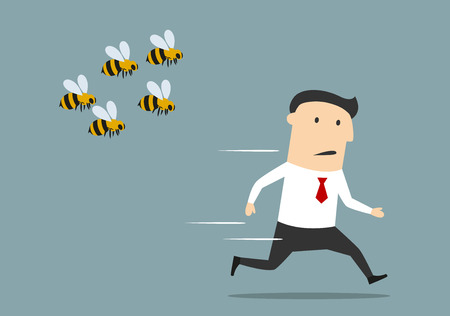 angry people: Cartoon businessman was attacked by swarm of angry wild bees and running away from dangerous insects.