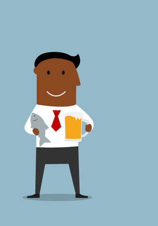 teamwork cartoon: Happy friday and weekend cartoon concept with happy relaxed african american businessman which standing with light beer tankard and salted fish in hands