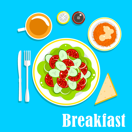 shredded: Vegetarian organic breakfast menu of fresh vegetable salad with sliced tomato, cucumber and onion served on lettuce, shredded carrot with cream, cup of tea, bread, salt and pepper shakers. Flat style