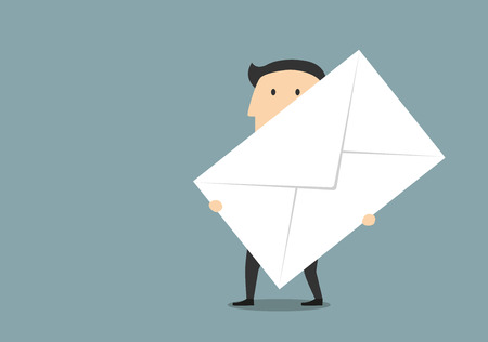 document management: Business communication correspondence and document management concept design with cartoon businessman which carrying a huge paper postal envelope