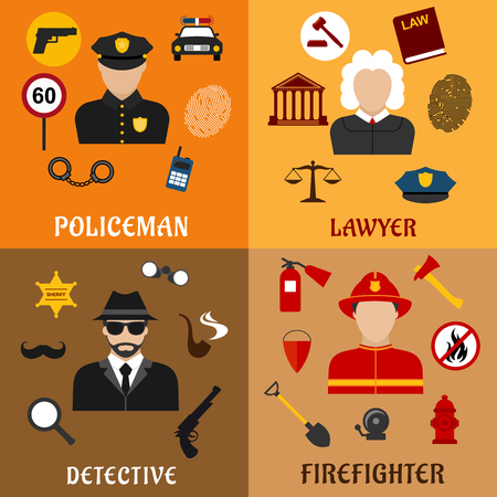 security equipment: Firefighter, detective, policeman and lawyer profession flat icons with justice, security, fire protection, investigation and legislation symbols